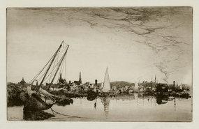 "Stephen Parrish, Etching, ""Evening- Gloucester,"" 1883"