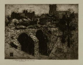 William Lee Hankey, Etching, The Bridge at Corfe Castle