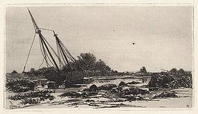 "Stephen Parrish, etching, ""On the Annisquam, 1880"""