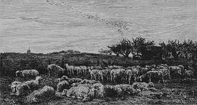 "Charles F. Daubigny, Etching, ""The Large Sheepfold"""
