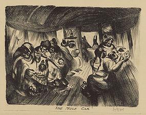 "George O. Pop Hart, Lithograph, ""The Mule Car,"" 1928"