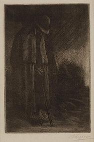 """Alphonse Legros, Etching, """"Le Voyageur a l'Abri"""""""