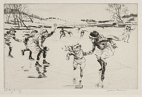 """Diana Thorne, Etching, """"Skating To-day,"""" c. 1930"""