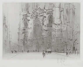 """William Walcot, Etching, """"York Minster-West Front"""" 1923"""