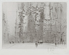 "William Walcot, Etching, ""York Minster-West Front"" 1923"