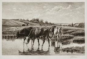 "Peter Moran, Etching, ""Through the Meadows,"" 1886"