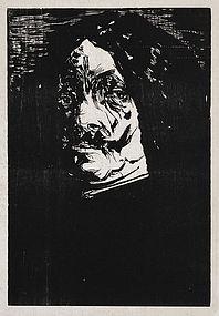 "Leonard Baskin, Wood Engraving, ""Portrait of a Man"""