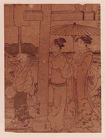 Torii Kiyonaga, Woodblock, Two Women with Young Servant