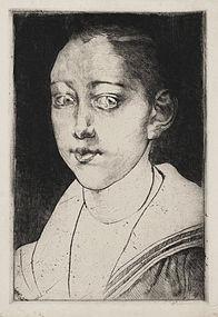 """Albert Besnard, Etching, """"Portrait de Petit Garcon"""""""