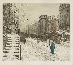 "T.F. Simon, Etching, ""Boulevard St Martin in Winter"""