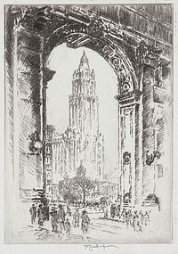 """Joseph Pennell, """"The Woolworth, Through the Arch"""""""