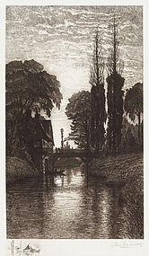 """Charles Mielatz, Etching, """"The Old Watermill"""" 1886"""