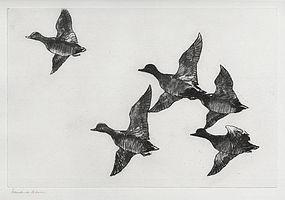"""Frank Benson, Etching, """"Flying Widgeon"""" 1924"""