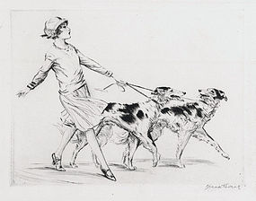 """Diana Thorne, Etching, """"Russians"""", c. 1930"""