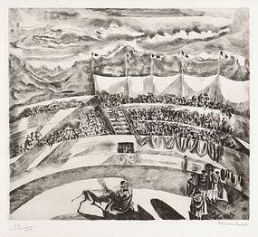 "Hermine David, Etching, ""La Corrida"", 1929"
