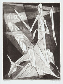 "Isaac Friedlander, Etching, ""The Messenger"", 1953"