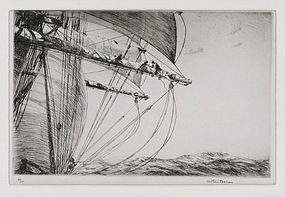 """Arthur J. T. Briscoe, Etching, """"Furling the Foresail"""" 1924"""
