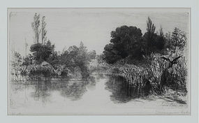 """Sir Francis Seymour Haden, Etching, """"Shere Mill Pond, No. II"""" 1860"""