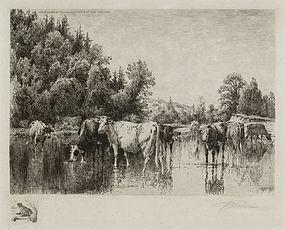 "Peter Moran, Etching, ""Noonday"", 1887"