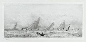 "William Lionel Wyllie, Etching, ""Windy Day Cowes Week-Isle of Wight"""