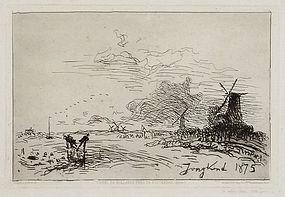 "Johan Barthold Jongkind, Etching ""Canal de Hollande Pres de Rotterdam"""