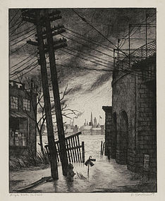 """Douglas W. Gorsline, Etching, """"High Water on the Ohio"""", 1939"""
