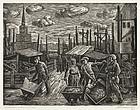"Albert Abramovitz, Linocut, ""Construction Work, Moscow"""
