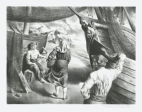 """Federico Castellon, Lithograph, """"By the Arks"""", 1941"""