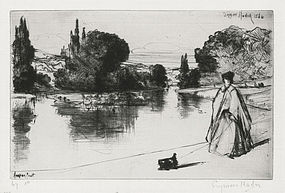 """Sir Francis Seymour Haden, etching, """"The Towing Path"""" 1864"""