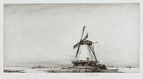 """Edward Julius Detmold, etching, """"The Mill"""" c. 1925"""