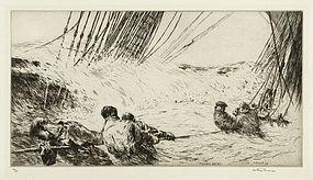 "Arthur J. T. Briscoe, etching, ""Flooded Decks"" 1931"