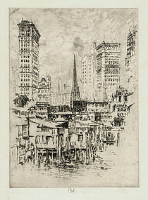 """Jospeh Pennell, etching, """"Trinity Church, From the River"""" 1904"""