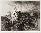 "Edmund Blampied, etching, ""A Jersey Vraic Cart"" 1939"