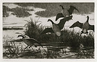 """Aiden Lassell Ripley, etching, """"Geese"""" c. 1930"""