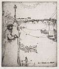 """Clifford Addams, etching, """"Dreamer by the Thames"""" c. 1902"""