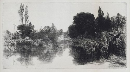 "Sir Francis Seymour Haden, etching, ""Shere Mill Pond No. II"""