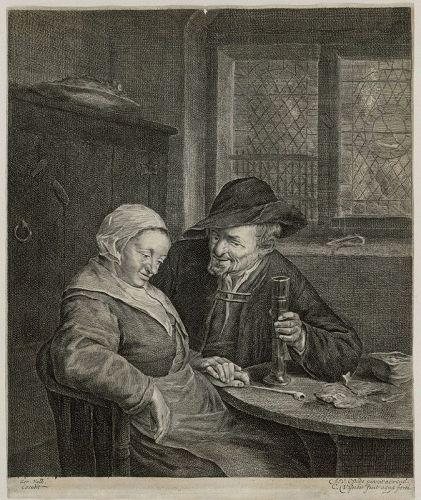"""Cornelius Visscher, engraving, """"Het Gesprek (The Conversation)"""""""