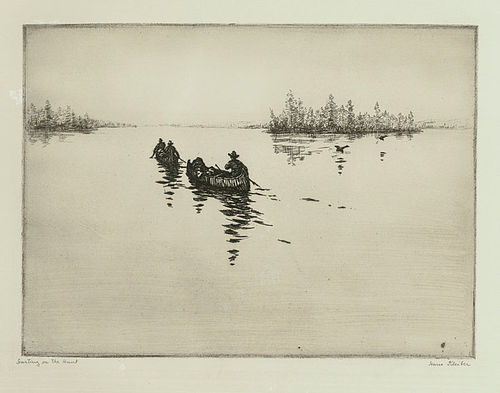 "Hans Kleiber, etching, ""Starting on the Hunt"""