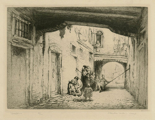 Edgar Chahine, etching, Sotto Portica Molin, Venice, 1922