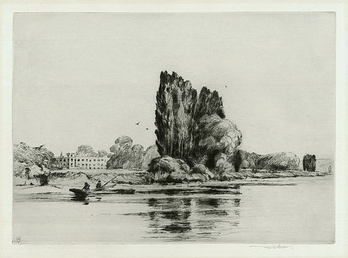 "Sir Frank Short, etching, ""Sion House on the Thames"", 1911"