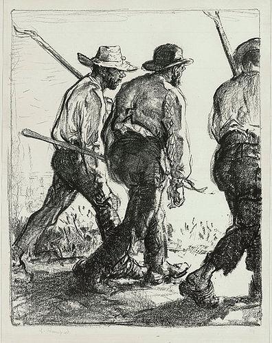 "Edmund Blampied, lithograph, ""Itinerant Farmers"", c. 1920"
