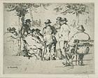 William Meyerowitz, etching, Men Gathered in a Park, c. 1925