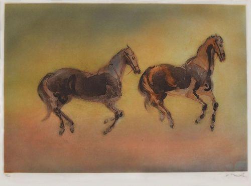 """Kaiko Moti, etching, """"Two Horses"""", 1989"""