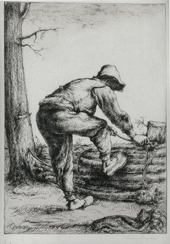 "Julius Komjati, etching, ""Woodcutter"","