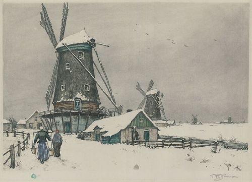"Tavik F. Simon, etching, ""Dutch Landscape in Winter"""
