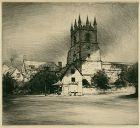 "Mortimer L. Menpes, etching, ""Goring Church, Goring-on-Thames"""