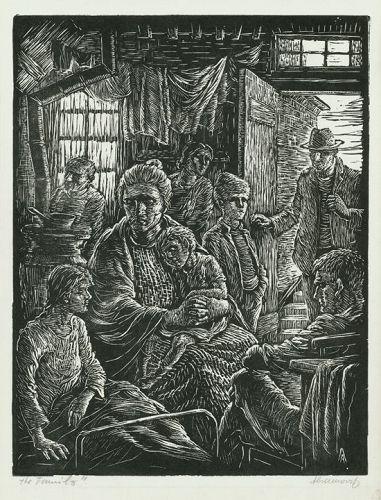"Albert Abramovitz, woodblock, ""The Family"""