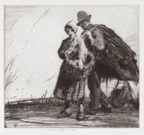 """William Lee Hankey, etching, """"Evening"""""""