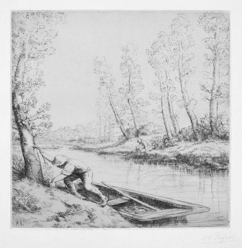 """Alphonse Legros, etching, """"Le Matin sur la Rivière"""""""