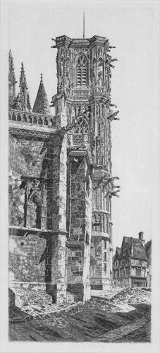 """John Taylor Arms, etching, """"Cathedral, Nevers"""""""
